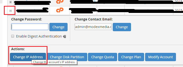 WHM Change cpanel account
