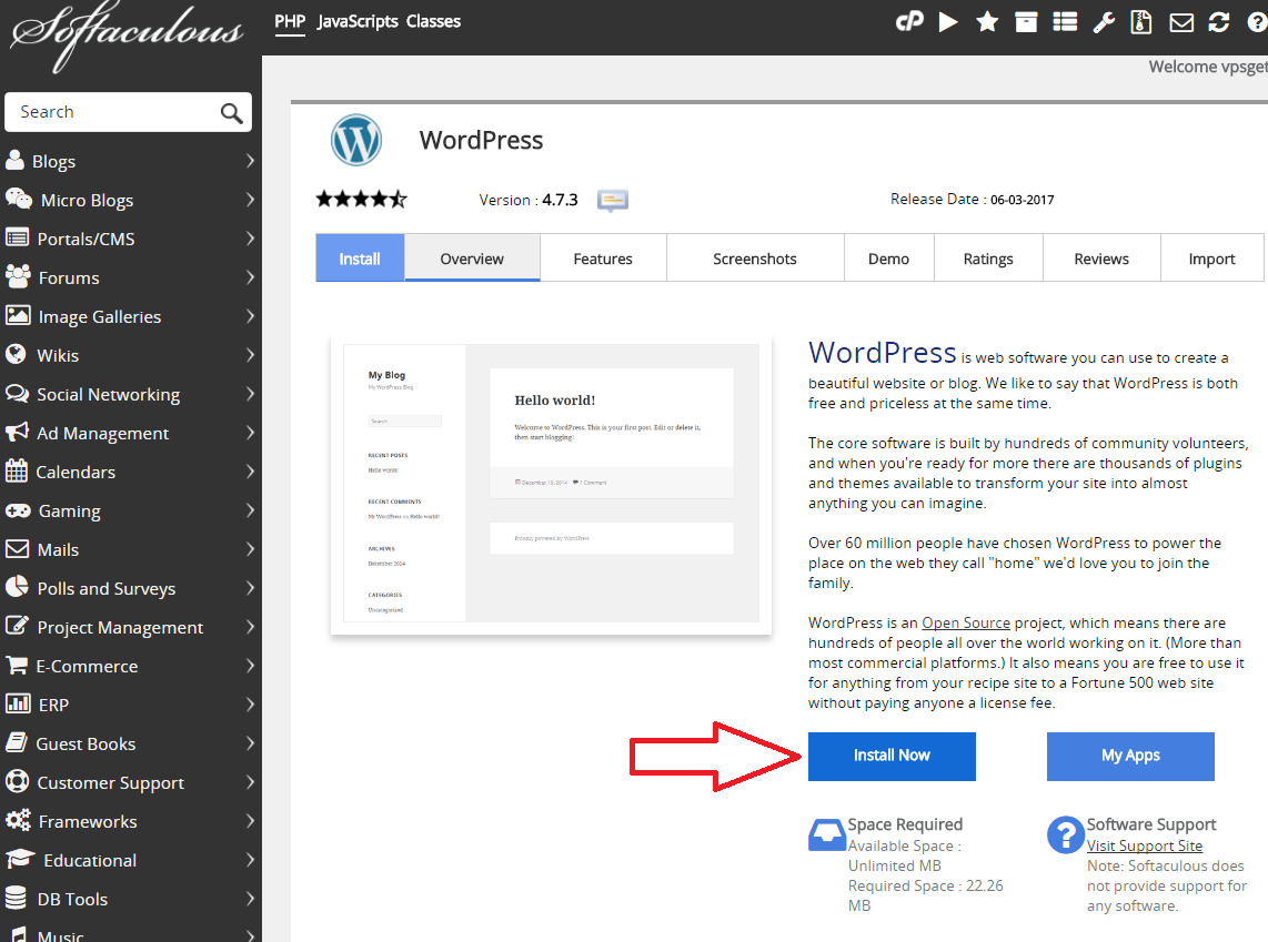 Softaculous install wordpress